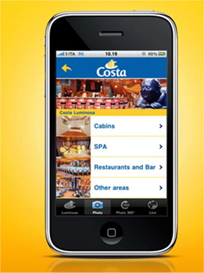 Cotillea los barcos de Costa Cruceros por el iPhone
