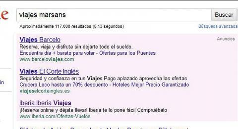 Si buscas Marsans en Google te sale Viajes Halcón o Barceló