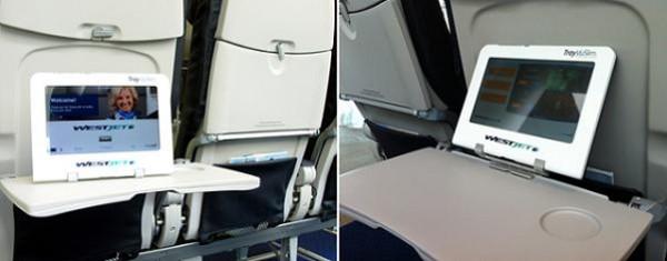 Bandejas para tablet en los aviones