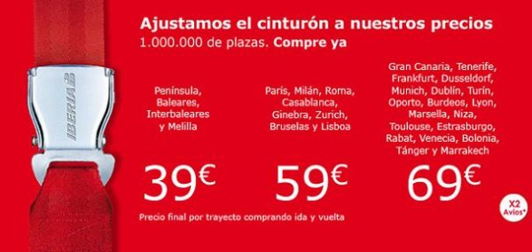 Iberia oferta un millón de plazas desde 39 euros